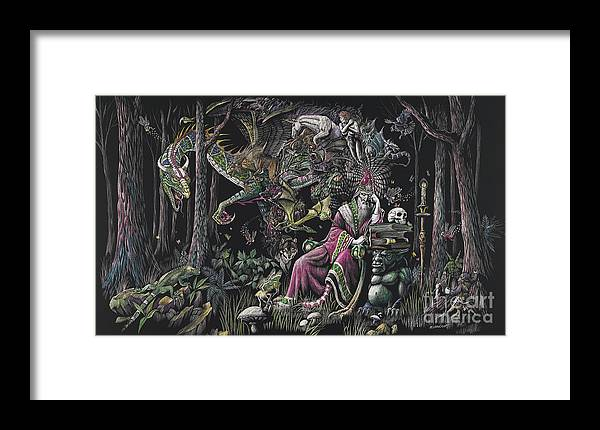 Dragon Framed Print featuring the drawing When Wizards Dream by Stanley Morrison