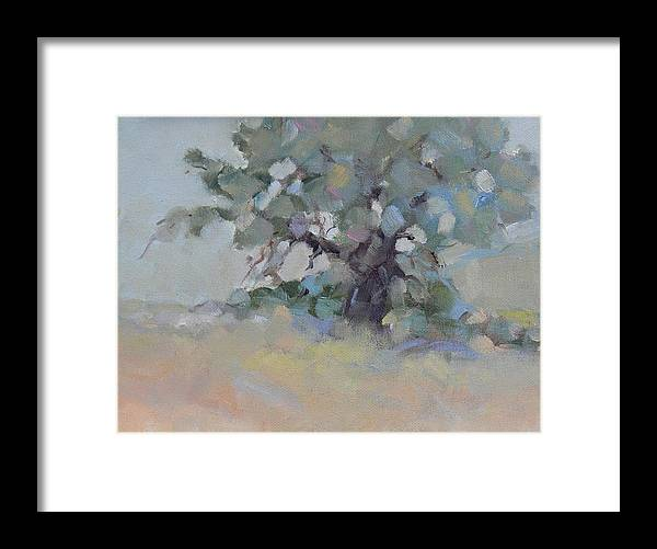 Tree Grass Sky Meadow Plein Air Landscape Painting Trees Valley Framed Print featuring the painting When You Are Feeling Blue by Ruth Andre