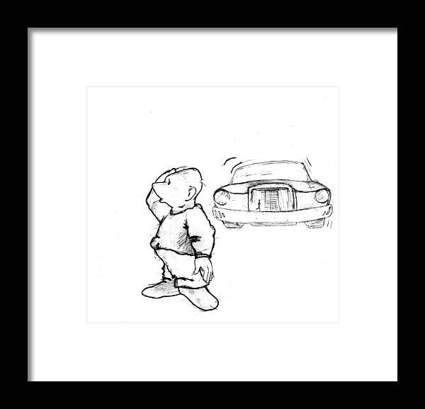 Man Framed Print featuring the drawing Where I Am... by Line Gagne