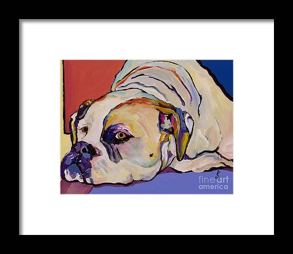American Bulldog Framed Print featuring the painting Where Is My Dinner by Pat Saunders-White