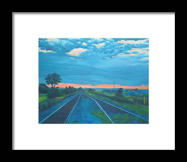 Railroad Tracks Framed Print featuring the painting Where Little Boys Play by Blaine Filthaut