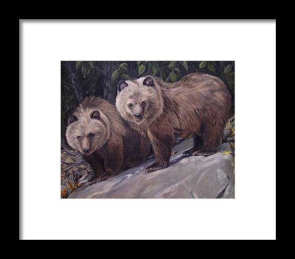 Grizzly Cubs Framed Print featuring the painting Where S Momma by Tahirih Goffic