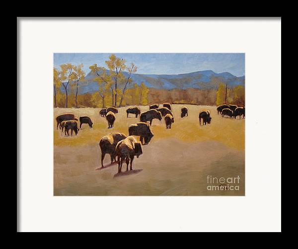 Buffalo Framed Print featuring the painting Where The Buffalo Roam by Tate Hamilton