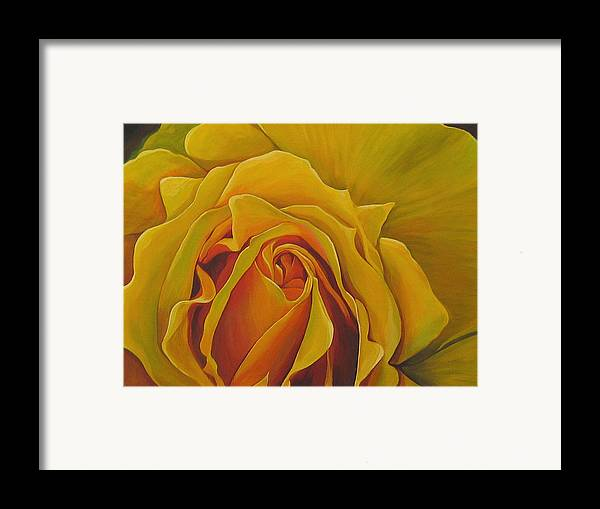 Yellow Rose Framed Print featuring the painting Where The Rose Is Sown by Hunter Jay
