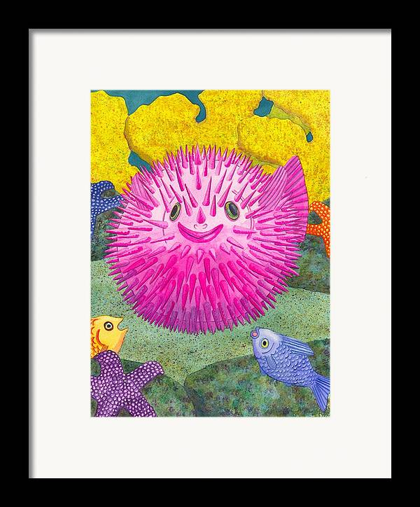 Puffer Fish Framed Print featuring the painting Where's Pinkfish by Catherine G McElroy