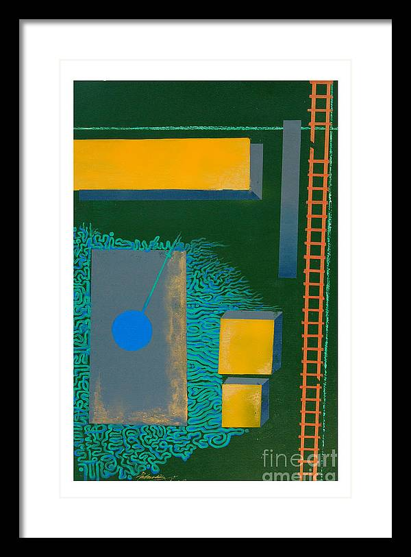 Abstract Framed Print featuring the painting Which Nucleus by Padmakar Kappagantula