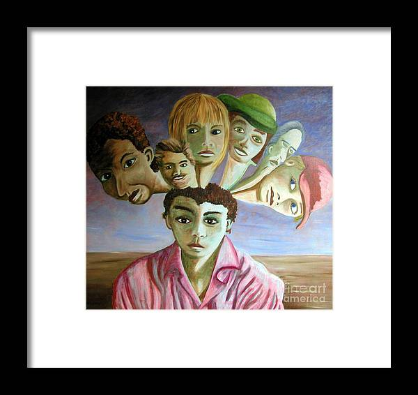 Identity (symbolic Art) Framed Print featuring the painting Which Of My Sub Personalities Is The Real Me by Tanni Koens