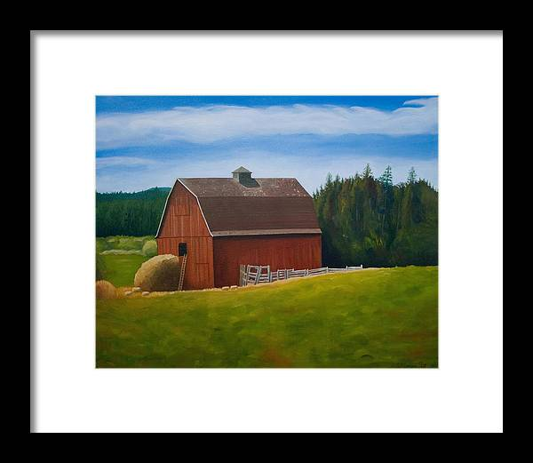 Landscape Framed Print featuring the painting Whidbey Island Barn by Stephen Degan