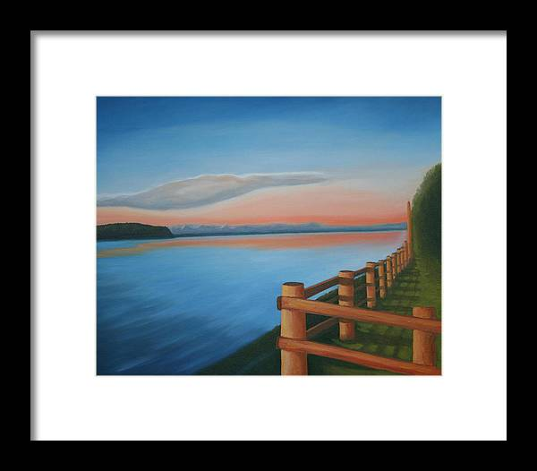Seascape Framed Print featuring the painting Whidbey Island Sunset by Stephen Degan