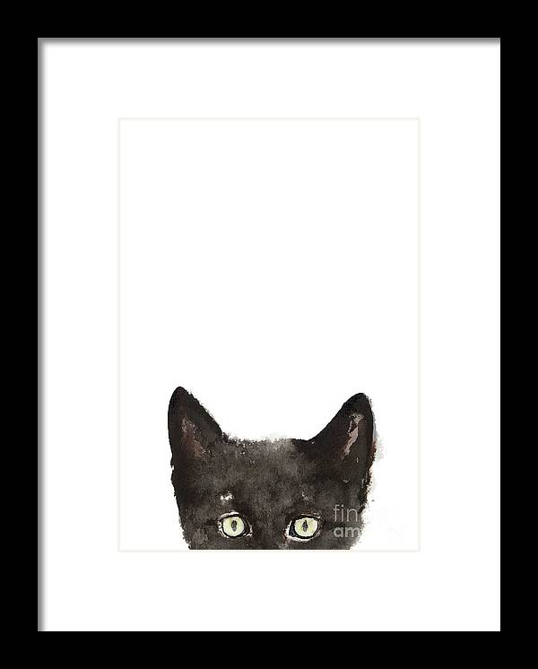 Whimsical Cat Poster Funny Animal Black Cat Drawing Peeking Cat Art Print Animals Painting Framed Print By Joanna Szmerdt