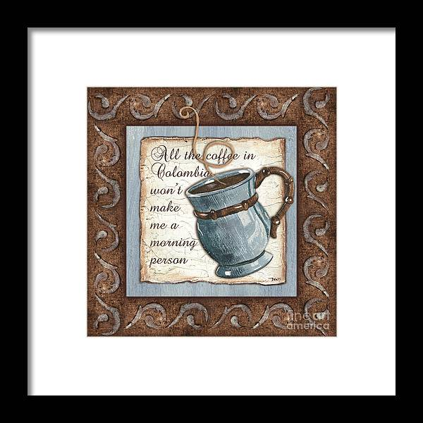 Coffee Framed Print featuring the painting Whimsical Coffee 1 by Debbie DeWitt