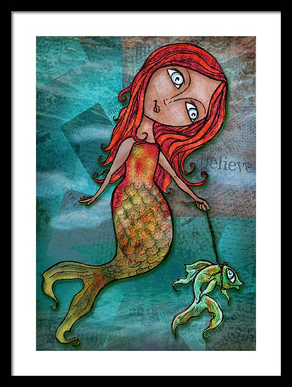 Whimsical Mermaid Walking Fish by Laura Ostrowski