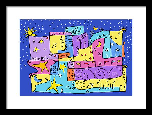 Abstract Painting Framed Print featuring the painting Whimsical Musical by Susan Rinehart