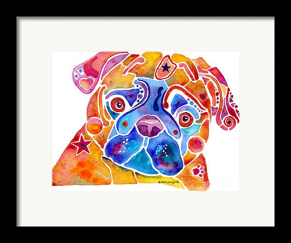 Pug Framed Print featuring the painting Whimsical Pug Dog by Jo Lynch