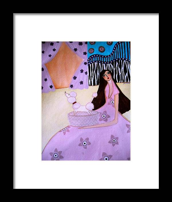 Poodle Framed Print featuring the painting Whimsy by Pristine Cartera Turkus