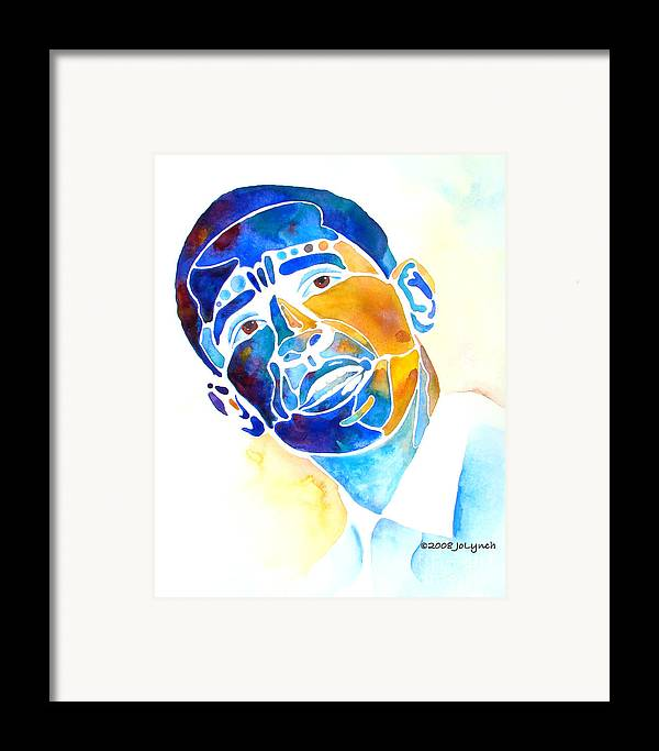 Obama Framed Print featuring the painting Whimzical Obama by Jo Lynch