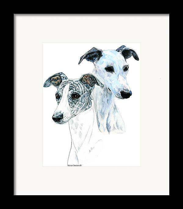 Whippet Framed Print featuring the painting Whippet Pair by Kathleen Sepulveda