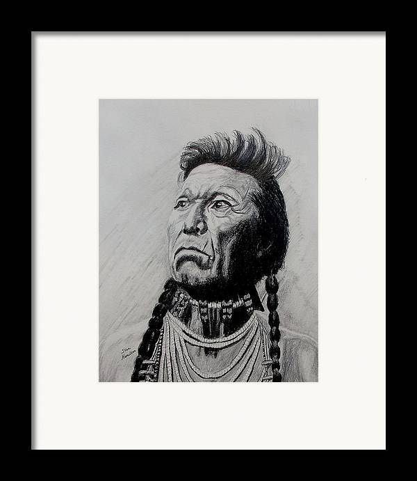 Indian Framed Print featuring the drawing Whirlwind by Stan Hamilton