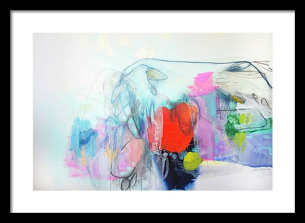 Abstract Framed Print featuring the painting Whisper by Claire Desjardins