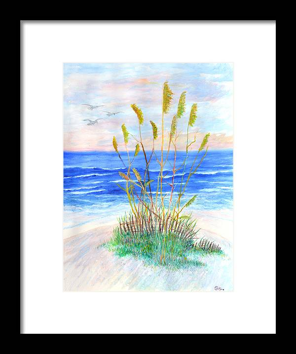 Sea Oats Framed Print featuring the painting Whispering Sea Oats by Ben Kiger