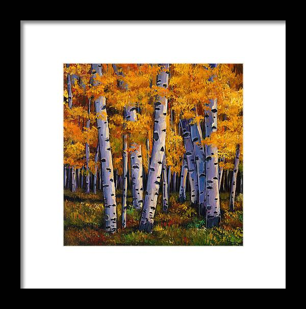 Autumn Aspen Framed Print featuring the painting Whispers by Johnathan Harris