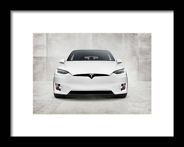 White 2017 Tesla Model X Electric Car Front View Framed Print By