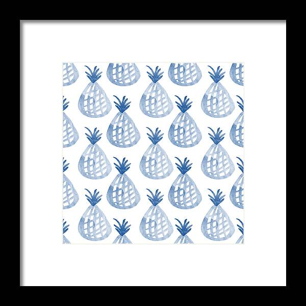 Pineapple Framed Print featuring the mixed media White and Blue Pineapple Party by Linda Woods