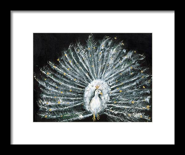 Peacock Framed Print featuring the painting White And Gold Peacock by Michela Akers