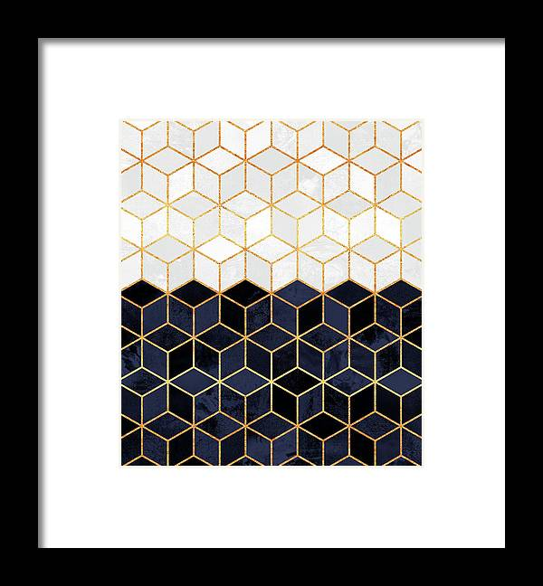 Graphic Framed Print featuring the digital art White and navy cubes by Elisabeth Fredriksson