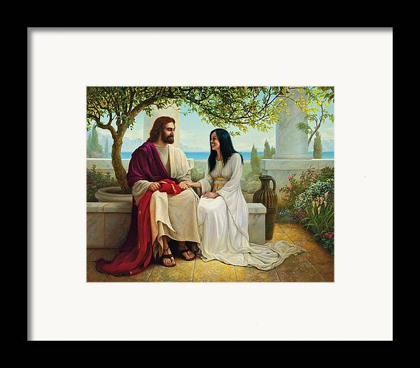 Jesus Framed Print featuring the painting White As Snow by Greg Olsen