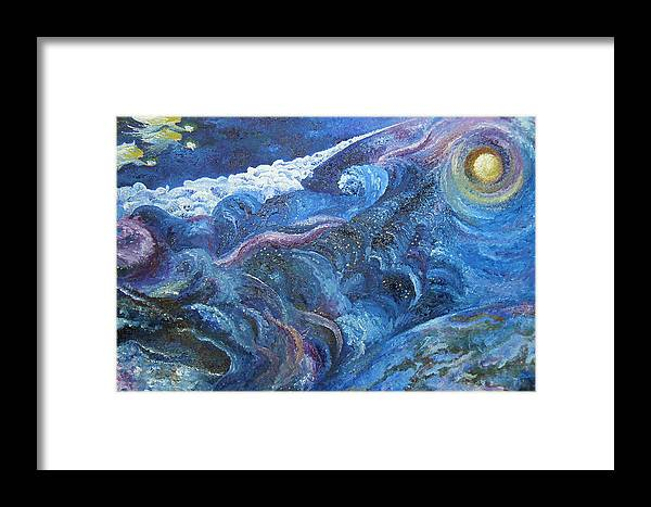 Baby Lambs Framed Print featuring the painting White Baby Lambs Of Peaceful Nights by Karina Ishkhanova