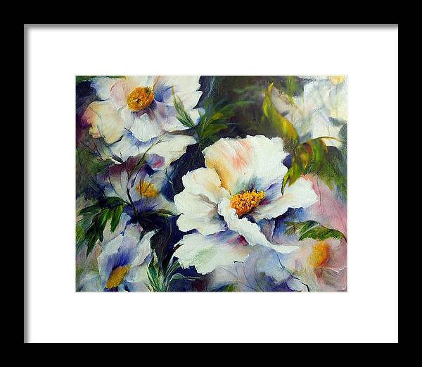 Oil Framed Print featuring the painting White Beauties by Elaine Bailey