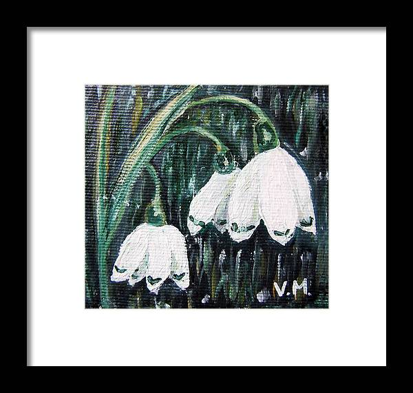 Flowers Framed Print featuring the painting White Bells by Vesna Martinjak