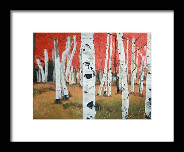 White Birch Trees Framed Print featuring the painting White Birches by Betty-Anne McDonald