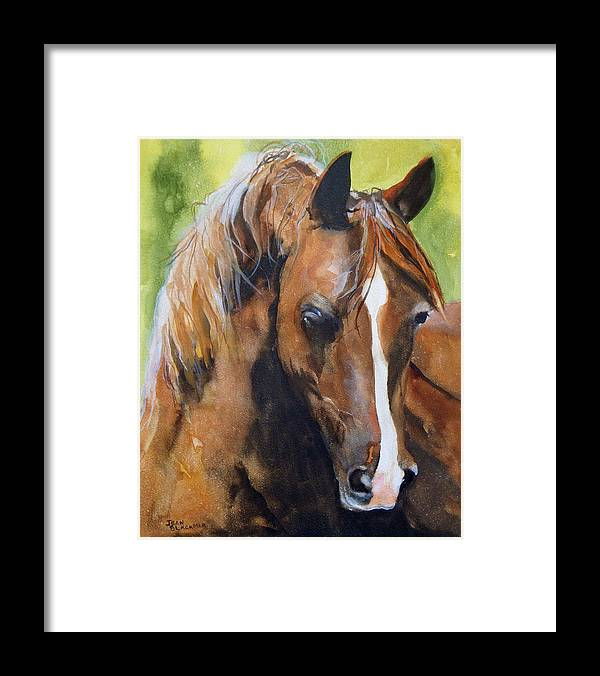 Horse Framed Print featuring the painting White Blaze by Jean Blackmer