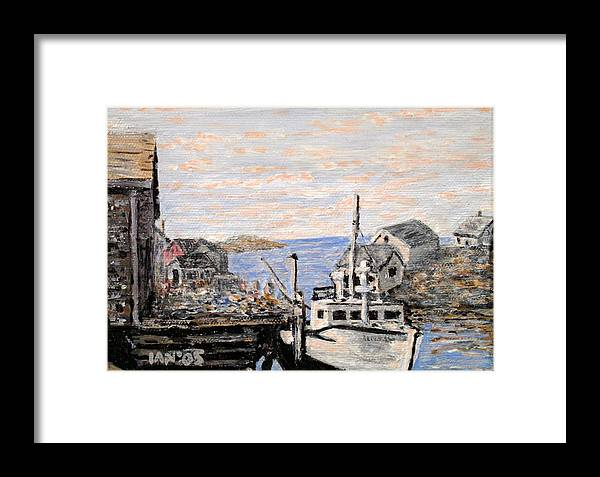 White Framed Print featuring the painting White Boat In Peggys Cove Nova Scotia by Ian MacDonald