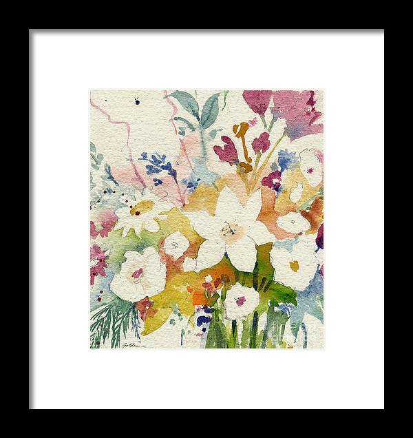 Floral Framed Print featuring the painting White Bouquet by Sheila Golden