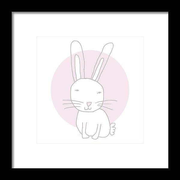 Bunny Framed Print featuring the mixed media White Bunny On Pink- Art by Linda Woods by Linda Woods