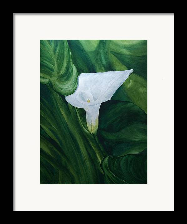 Floral Framed Print featuring the painting White Calla by Monika Degan