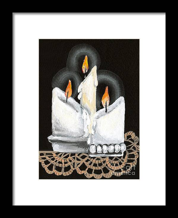 Candles Framed Print featuring the painting White Candle Trio by Elaine Hodges