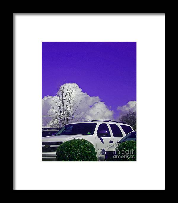 Car Framed Print featuring the photograph White Car And Clouds by Beebe Barksdale-Bruner