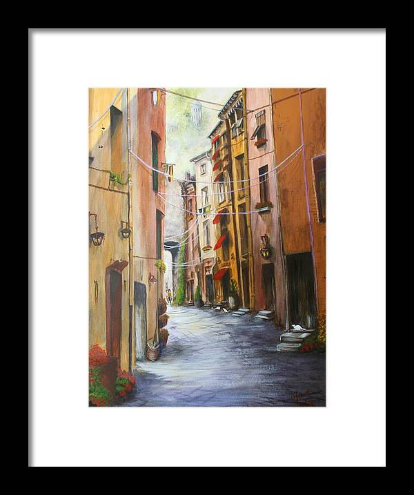 Street Framed Print featuring the painting White Cat Lane by Jan Lowe