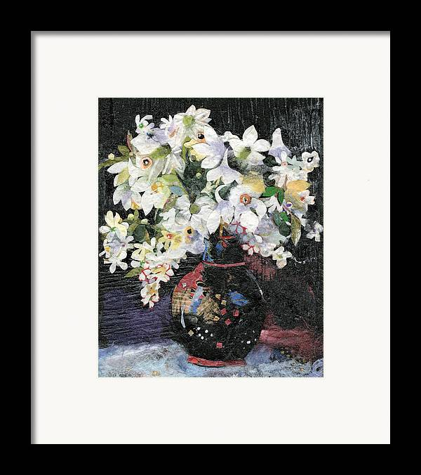 Limited Edition Prints Framed Print featuring the painting White Celebration by Nira Schwartz