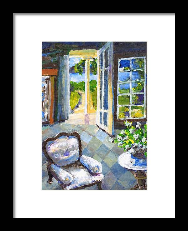 Nantucket Framed Print featuring the painting White Chair Nantucket by Randy Sprout