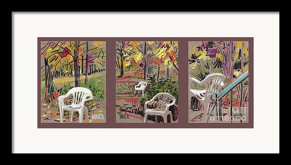 Pastel Framed Print featuring the drawing White Chairs And Birdhouses 1 by Donald Maier