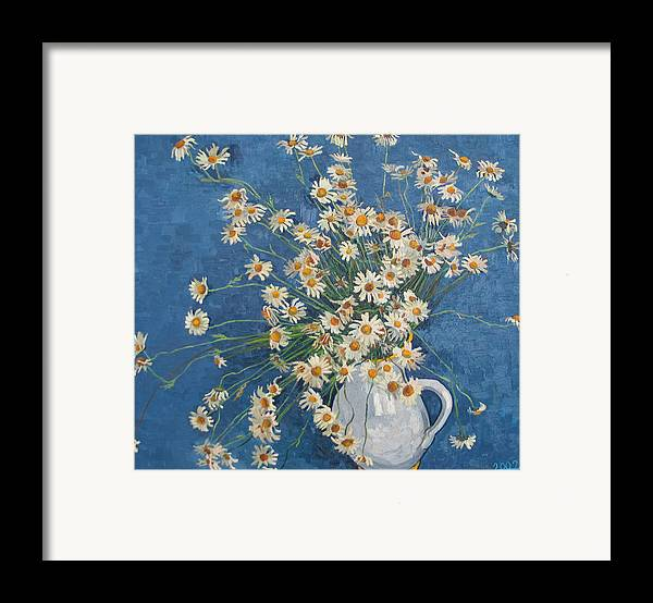 Flower Framed Print featuring the painting White Chamomile Flowers With Blue Background by Vitali Komarov