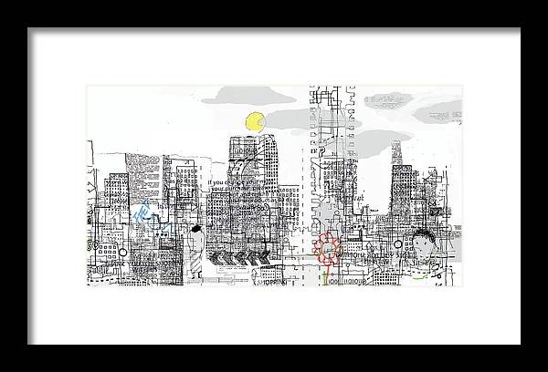 Line Framed Print featuring the digital art White City by Andy Mercer