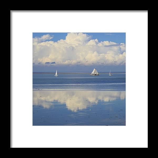 Waddenzee Framed Print featuring the photograph Romantic View With Sailboats In Holland by Rusalka Koroleva