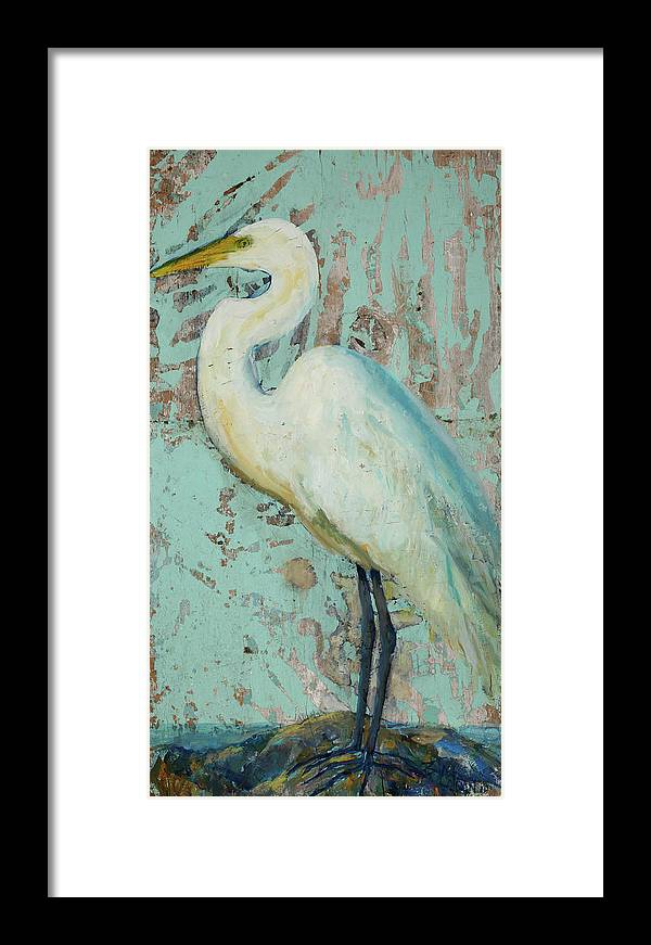 dd47c5f2a Crane Framed Print featuring the painting White Crane by Billie Colson