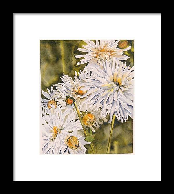 White Framed Print featuring the painting White Dahlias by Diane Ziemski